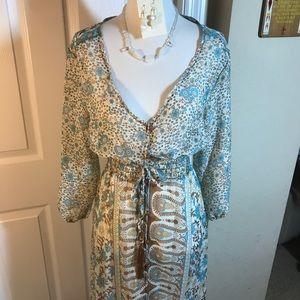 Dresses & Skirts - Boho Gypsy Floral Dress Blue Brown New Maxi